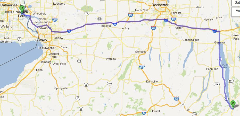 7- Montour Falls-Niagara Falls, 262 km