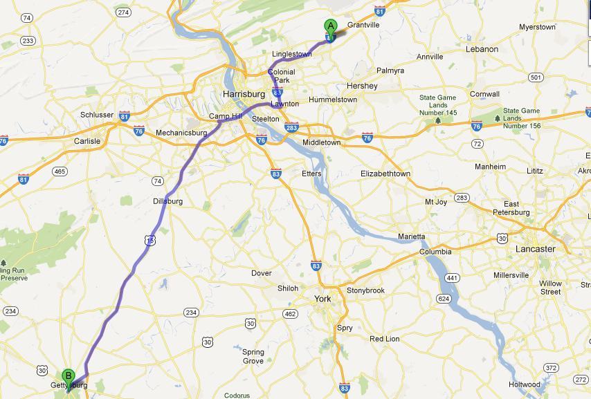 9- Harrisburg-Gettysburg, 85 km